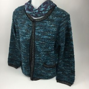 ana- A New Approach Turquoise Open-Front Sweater L